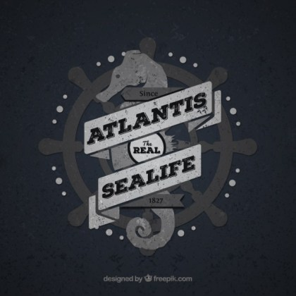 Vintage Sea Life Badge Free Vector