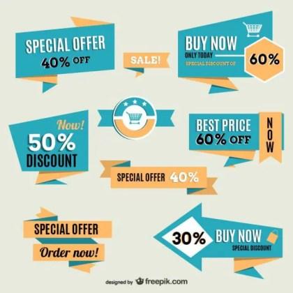 Vintage Shopping Online Labels Free Vector