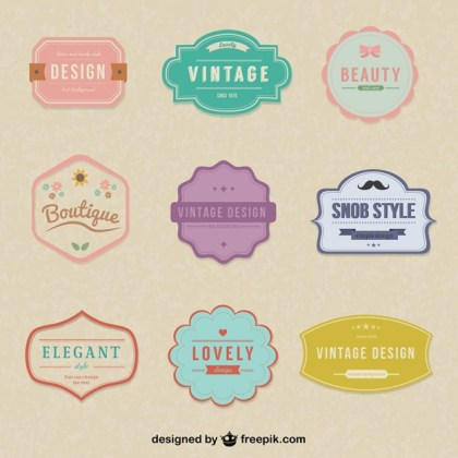 Vintage Simple Stickers Free Vector