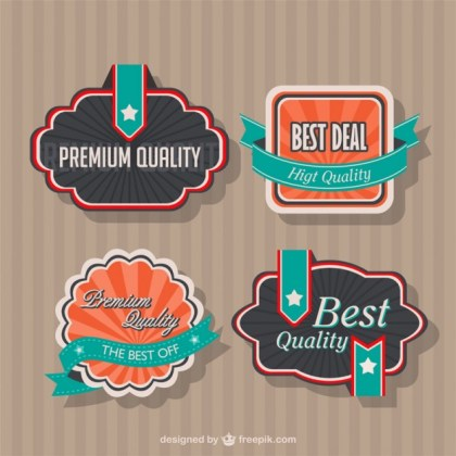 Vintage Style Badges Design Free Vector