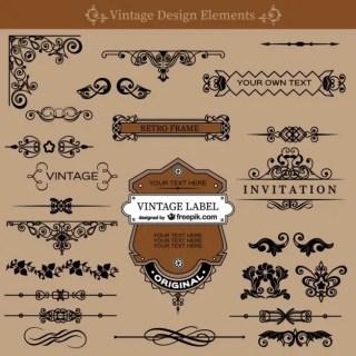 Vintage Swirls Decorations Set Free Vector