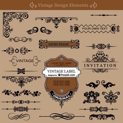 Vintage Swirls Decorations Set Free Vector
