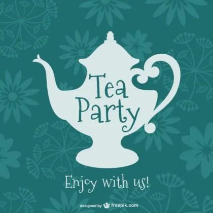 Vintage Tea Party Design Free Vector