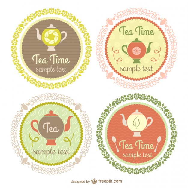 Vintage Tea Time Labels Free Vector