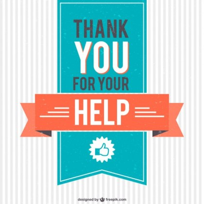 Vintage Thank You for Your Help Free Vector