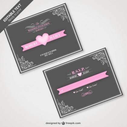 Vintage Wedding Invitation for Download Free Vector