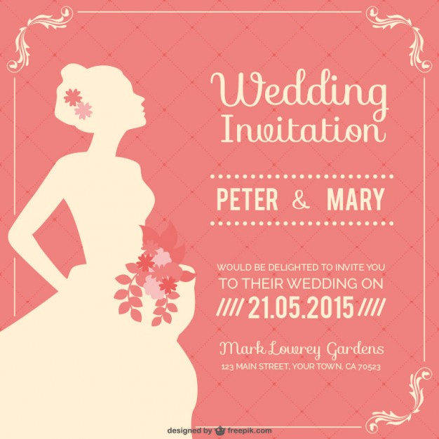 Vine Wedding Invitation Free Vector Preview