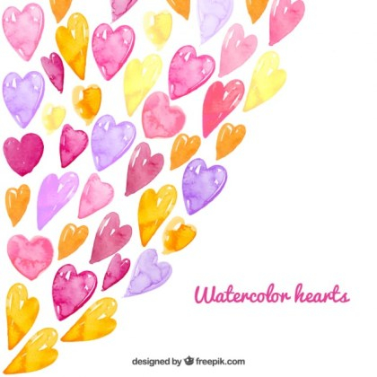 Watercolor Hearts Background Free Vector