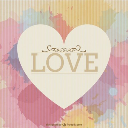 Watercolor Love Greeting Card Free Vector