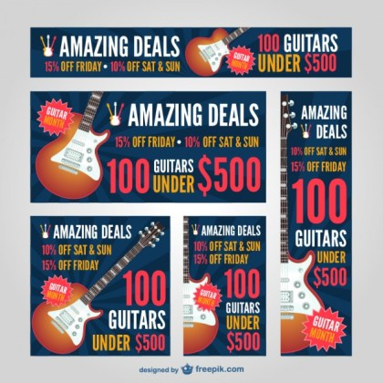 Web Banners Music Design Free Vector
