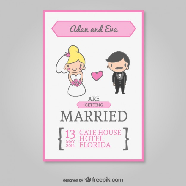 Wedding Cartoon Invitation Free Vector