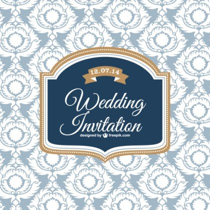 Wedding Classic Design Invitation Card Free Vector