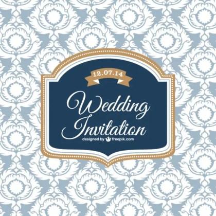 Wedding Classic Design Invitation Card Free Vector