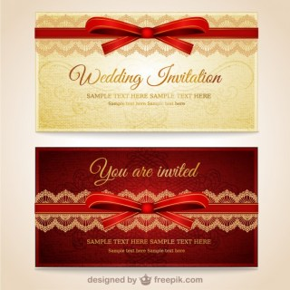 Wedding Invitations with Red Lace Free Vector