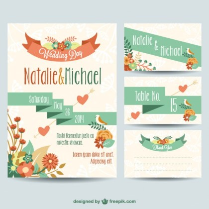 Wedding Printables Floral Design Free Vector