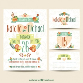 Wedding Printables Floral Set Free Vector