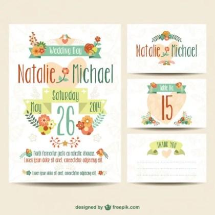 Wedding Printables Floral Set Free Vector