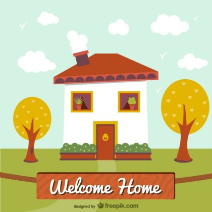 Welcome Home Illustration Free Vector