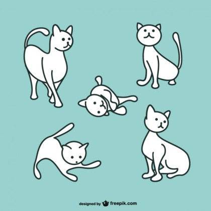 White Cat Playing Free Vector
