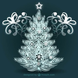 White Christmas Tree with Ornaments Free Vector