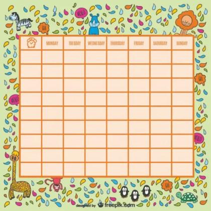 Wild Animals School Timetable Free Vector