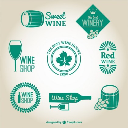 Winery and Wine Shop Logos Free Vector