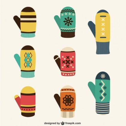 Winter Gloves Collection Free Vector