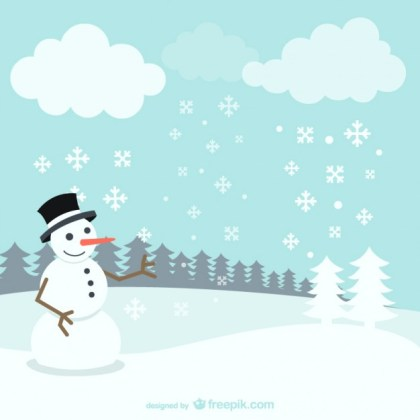 Winter Landscape with Snowman Free Vector