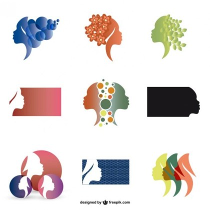Woman Profie Silhouette Logos Set Free Vector