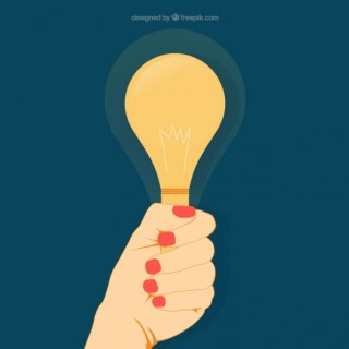 Womans Hand Holding a Light Bulb Free Vector