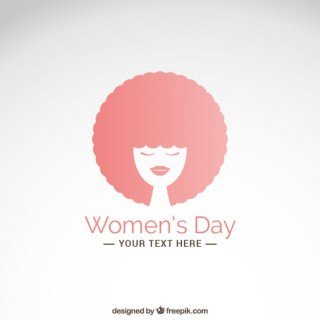 Womens Day Card with Afro Hair Woman Free Vector