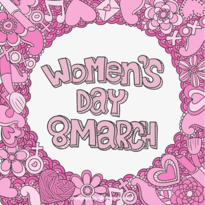 Womens Day Lettering with Pink Doodles Free Vector