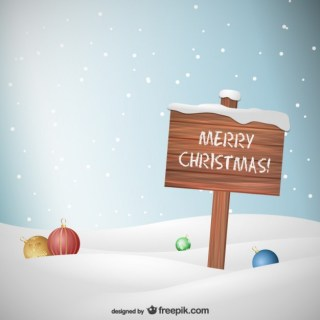 Wooden Christmas Sign Free Vector
