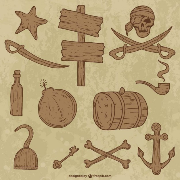 Wooden Collection of Pirate Objects Free Vector