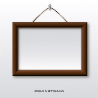 Wooden Frame Hanging on Wall Free Vector