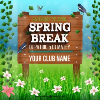 Wooden Sign for Spring Break Party Free Vector