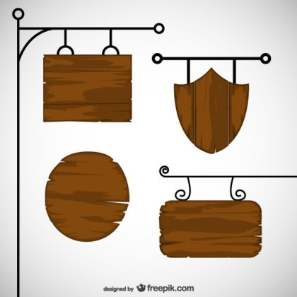 Wooden Signs Pack Free Vector