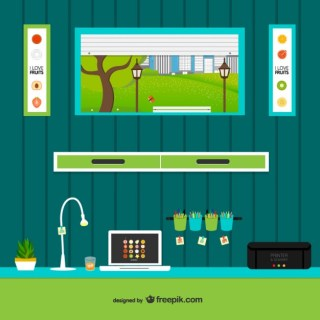 Work Space with Window Free Vector