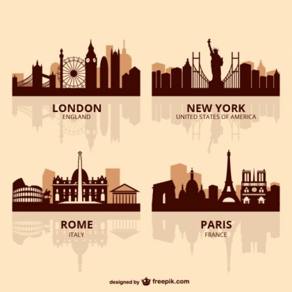 World Capitals Skyline Free Vector
