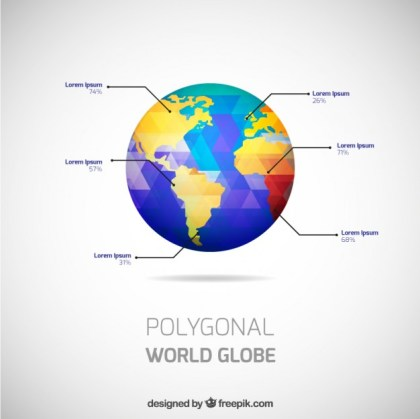 World Globe Infographic Free Vector