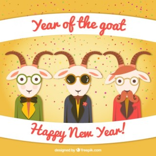 Year of The Goat Cartoon Free Vector