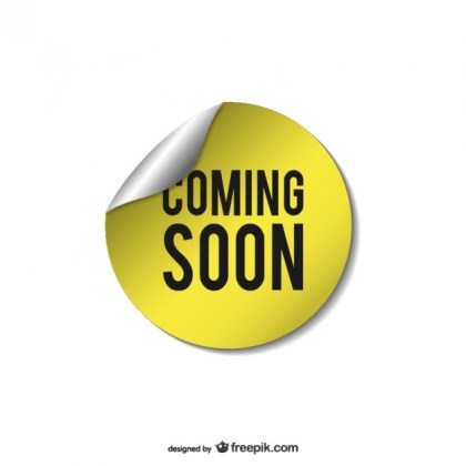 Yellow Coming Soon Sticker Free Vector
