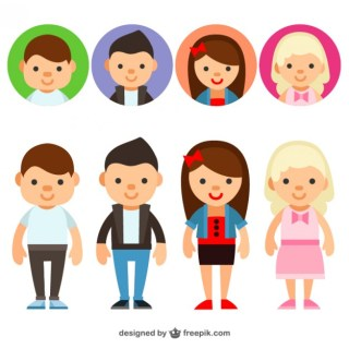 Young People Avatars Free Vector