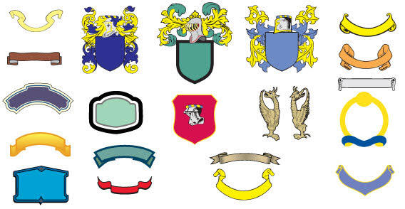 Free Vector Ornate Heraldic Shield with Banners