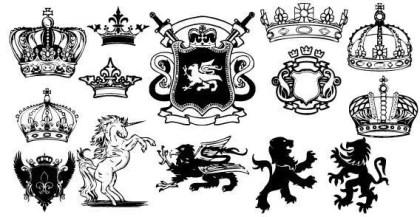 Unicorn, Lion Heraldic Coat of Arms Vector