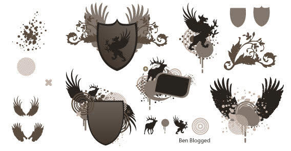 Free Vector Heraldic Shield with Wings