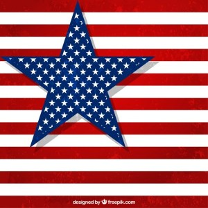 American Flag with Big Star Free Vector