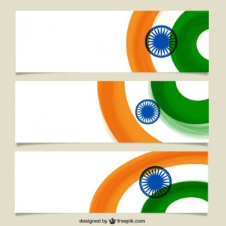 Banners with Indian Flag Free Vector