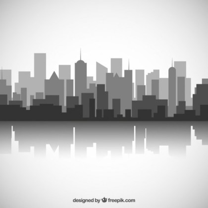 Black and White City Skyline Free Vector