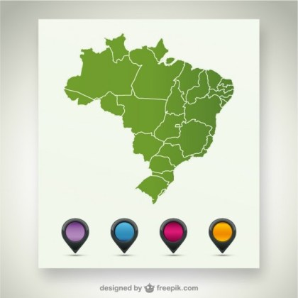 Brazil Map Template Free Vector